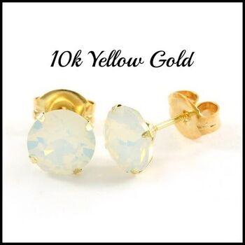 10k Yellow Gold White Opal 6mm in Diameter Stud Earrings