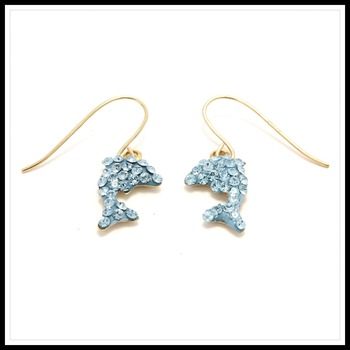 10k Yellow Gold with Blue Swarowsky Crystal Dolphin Earrings