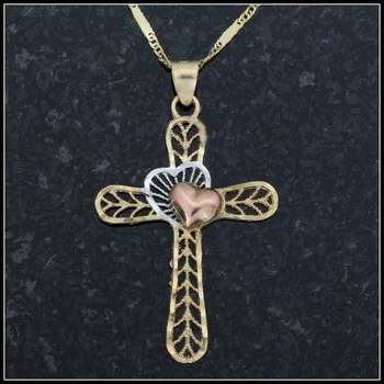 10k Yellow, Rose & White Gold Cross Necklace