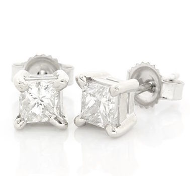 14 kt. White Gold  1.01ctw  Diamond  Earrings