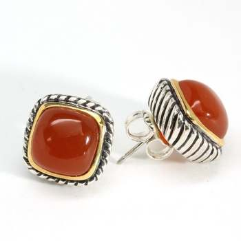 14.0ctw Dyed Orange Chalcedony, .925 Sterling Silver Stud Earrings Authentic Lorenzo