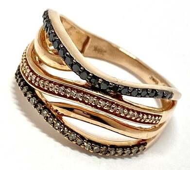 14k Rose Gold, 0.75ct Genuine Black, White, Fancy Brown Diamond Band Ring