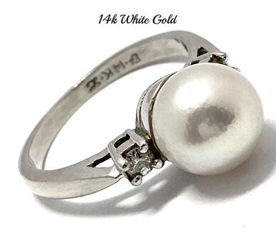 14k White Gold 0.05ct Genuine Diamond & 8mm Genuine Pearl Antique 1950's Ring Size 5.5
