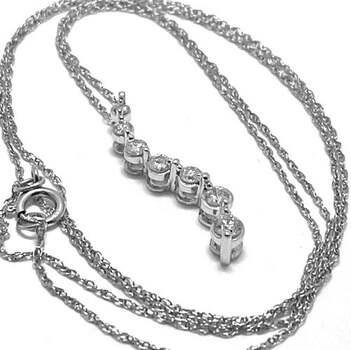 14k White Gold, 0.25ct Genuine Diamond Drop Necklace