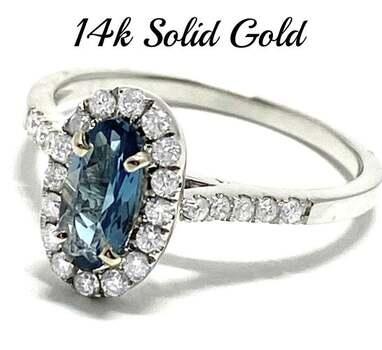 14k White Gold, 0.40ct Genuine Diamond & 1.00ct London Blue Topaz Ring Size 7