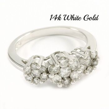 14k White Gold, 0.75ctw Genuine Diamond Ring Size 6.75