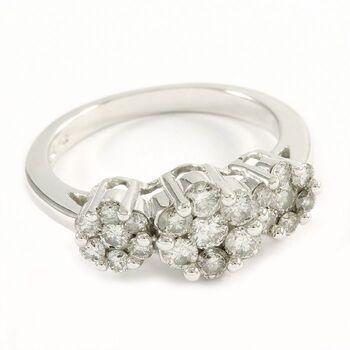 14k White Gold, 0.75ctw Natural Diamond Ring Size 6.75