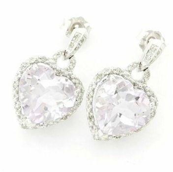14k White Gold - 10.50ctw Rose Amethyst & 0.25ctw Genuine Diamond Heart Earrings