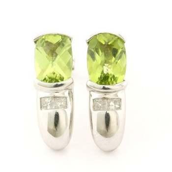 14k White Gold 3.00ctw Genuine Peridot & 0.18ctw Genuine Diamond  Earrings
