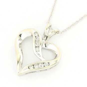 14k White Gold Genuine Diamond Heart Shape Necklace