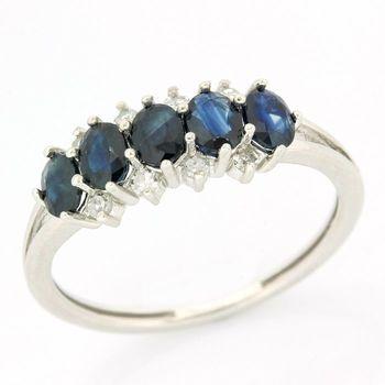 14k White Gold Genuine Sapphire & Genuine Diamond Ring Size 7
