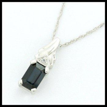 14k White Gold Genuine Sapphire & White Topaz Necklace