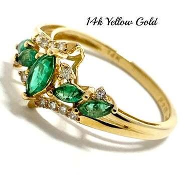 14k Yellow Gold, 0.15ct Genuine Diamond & 0.65ct Emerald Ring Size 7