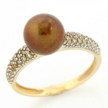 14k Yellow Gold, 0.25ct Fancy Brown SI Diamond & Chocolate Akoya Pearl Ring sz 7
