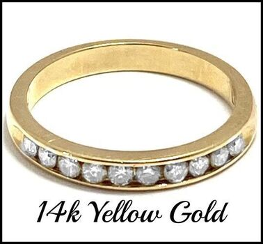 14k Yellow Gold, 0.32ctw Natural Diamond Wedding Ring Size 6