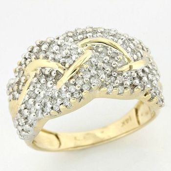 14k Yellow Gold 0.50ctw Genuine Diamond Ring Size 7.5
