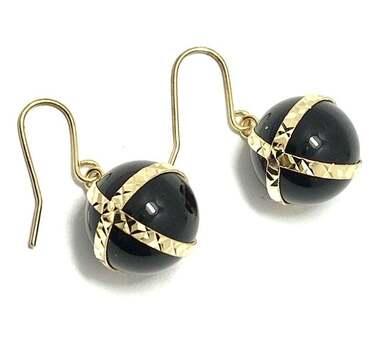 "14k Yellow Gold, 1/2"" in Diameter Genuine Black Onyx Drop Earrings"