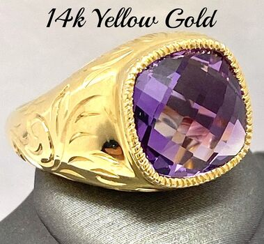 14k Yellow Gold, 22.00ctw Natural  Amethyst Ring Size 7