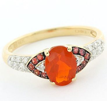 14k Yellow Gold Genuine Fire Opal, Diamond, Red Sapphire Ring Size 8