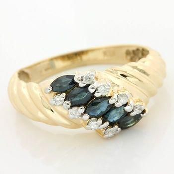14k Yellow Gold Genuine Sapphire & Diamond Ring Size 6.75