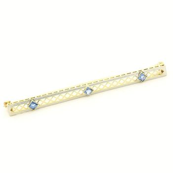 14k Yellow & White Gold Antique Bar Pin with 0.60ct Sapphire