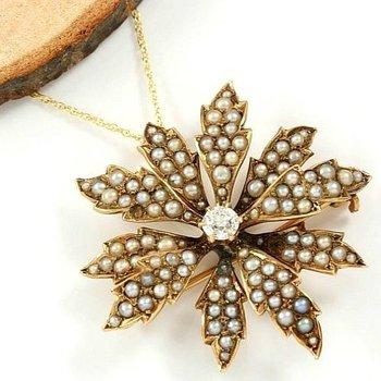 14kt Yellow Gold 0.30 ct G-H, VS1 Diamond, 0.5-1 mm seed Pearls brooch/pendant