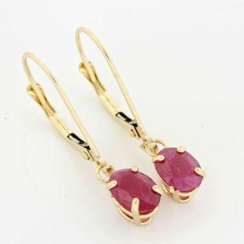 14kt yellow gold 1.60ct oval cut ruby earrings; 25mm long