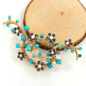 14kt Yellow Gold, 2.50ct Sapphire, H VS2-SI1 Round Cut Diamond Pin Brooch