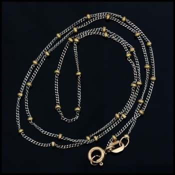 """15"""" 1/2"""" Solid 14k Yellow & White Gold Saturn Chain"""