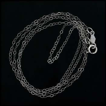 """17 1/2"""" Solid 10k White Gold Trace Chain"""