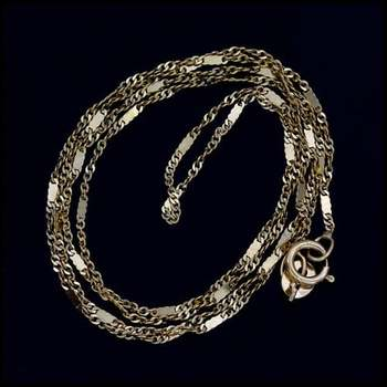 """17 1/2"""" Solid 10k Yellow Gold Curb Chain"""