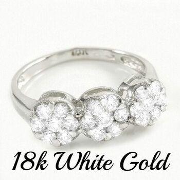 18 kt White Gold, 0.93ctw Natural  Diamond Ring Size 7.5