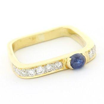 18 kt. Yellow gold 0.33ct Genuine Diamond & Sapphire Ring Size 4.5