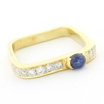 18 kt. Yellow gold 0.33ct Genuine Diamond & Sapphire Ring Size 4.5