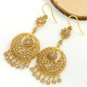 1800s Vintage Solid 24k Yellow Gold, 5.00ctw of Genuine Diamonds SI1-SI2 I Earrings