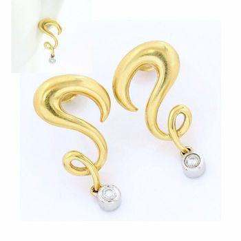 18k Yellow Gold Genuine Diamond Earrings