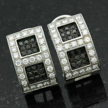 18k/750 White Gold Natural (untreated) 2.00ctw Diamond Earrings