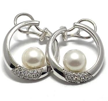 18kt White Gold, 0.50ctw Genuine Diamond & 8 mm Japanese Akoya Pearl Earrings