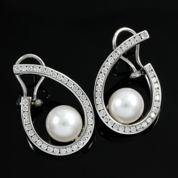 18kt White Gold, 1.28ctw Genuine Diamond & 10 mm Japanese Akoya Pearl Earrings