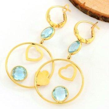 18kt Yellow Gold - 11.50 ct Bridgette Cut Blue Topaz; Earrings Size: 48mm
