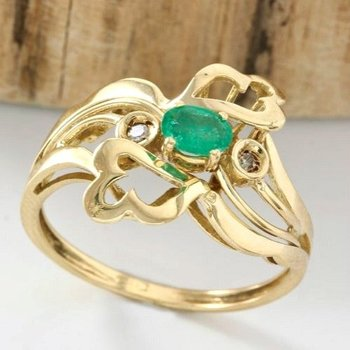 18kt yellow gold ring with 0.20ct Emerald & 0.02ct Diamond
