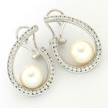 18kt/750 White Gold 1.28 ct Round Cut Diamond & 10 mm Pearls Earrings