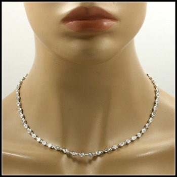 20.5 Grams Solid Sterling Silver with Round & Marquise Cut AAA Grade CZ Necklace