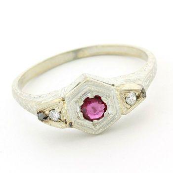 20k White Gold Genuine Garnet & Diamond Antique Ring Size 6