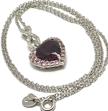 3.18ctw Diamond & Garnet & Pink Tourmaline, .925 Sterling Silver Necklace Authentic Lorenzo