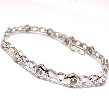 """3.25ctw Diamonique Tennis Bracelet Platinum & 925 Sterling Silver 7"""" Long"""