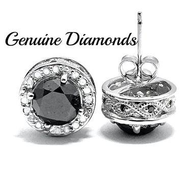 3.95ctw Genuine Black & White Diamond Solid .925 Sterling Silver Stud Earrings