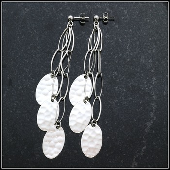 """4"""" Long Stippled Sterling Silver Oval Links Lobster Claw Clasp Earrings"""