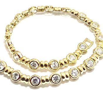 "4.15ctw Diamonique Tennis Bracelet Yellow Gold & 925 Sterling Silver 7"" Long"