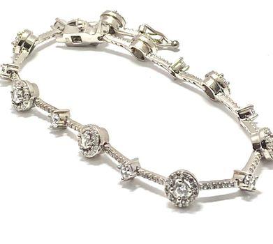 """4.25ctw Diamonique Tennis Bracelet Platinum & 925 Sterling Silver 7.5"""" Long"""
